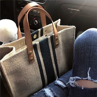 Masen - 条纹帆布手提包