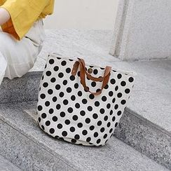 Ms Bean - Polka Dot Canvas Handbag