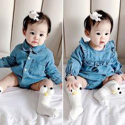 Cen2ury - Baby Long-Sleeve Denim Bodysuit