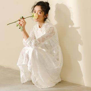 Luminato - Long-Sleeve Lace A-Line Midi Dress