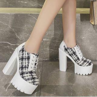安若 - 厚底粗跟繫帶鞋