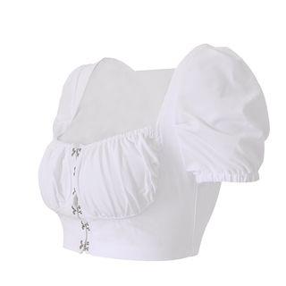 LIVA GIRL - Short-Sleeve Bustier Crop Top