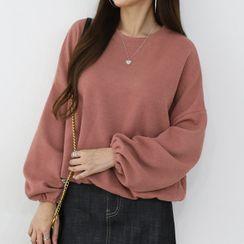 Seoul Fashion - Balloon-Sleeve Plain Sweatshirt