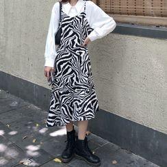 monroll - Plain Shirt / Zebra Print Midi Overall Dress