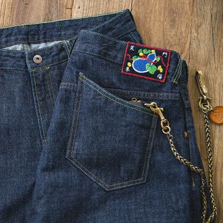 Maden - Fruit Embroidered Straight-Cut Jeans