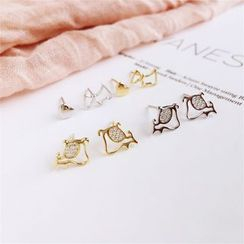 SEIZA - Rhinestone Dog / Heart Earring (various designs)