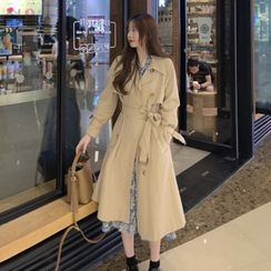Bloombloom - Trench Coat / Jacket / Long-Sleeve Floral Print Midi A-Line Dress