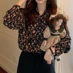 monroll - Long-Sleeve Floral Print Chiffon Shirt / Spaghetti Strap Knit Top