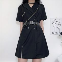 LINSI - Short-Sleeve Double-Breasted Mini A-Line Dress / Harness Belt
