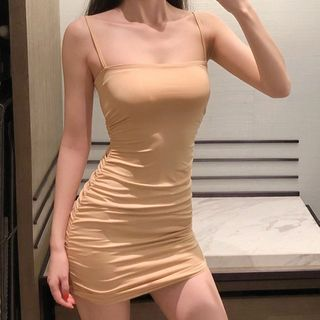 Berdal - Spaghetti Strap Mini Sheath Dress