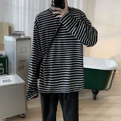 Mr. Wordy - Striped High-Neck Long-Sleeve T-shirt