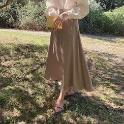 CHERRYKOKO - Satin Maxi Flare Skirt