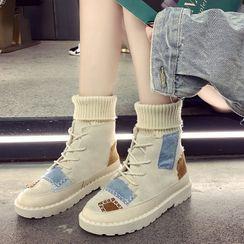 Vindler - Color Block Platform Lace Up Short Boots
