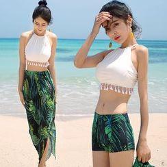 Kotilo - Couple Matching Tassel Detail Bikini / Cover-Up / Leaf Print Swim Trunks / Set