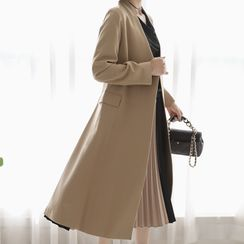 Lemite - Collarless Snap-Button Long Flare Coat