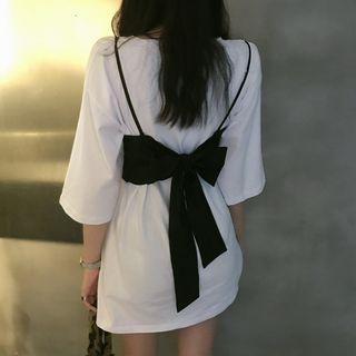 Pobblebonk - Plain Elbow-Sleeve T-Shirt/Ribbon Accent Camisole