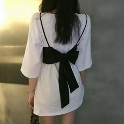 Pobblebonk - Plain Elbow-Sleeve T-Shirt / Ribbon Accent Camisole Top
