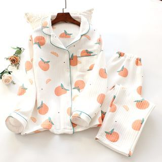 Dogini - Pajama Set: Orange Print Shirt + Pants