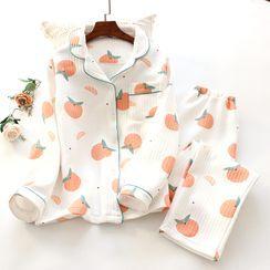 Dogini - Pajama Set: Orange Print Shirt + Pants