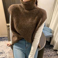 DABAGIRL - Turtleneck Brushed Knit Vest