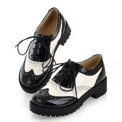 Aegina - 拼色布洛克粗跟牛津鞋