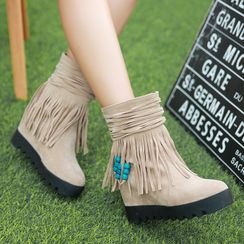 Cinnabelle - Fringed Hidden Wedge Short Boots