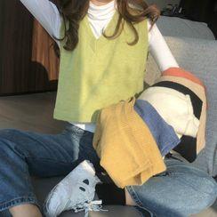 Mikiko - V领短款针织马甲