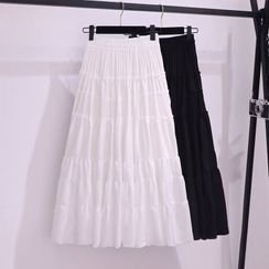 Gray House - Plain Band-Waist Tiered Midi A-Line Skirt