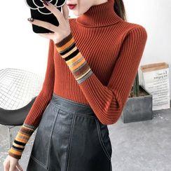 Norte - Turtleneck Striped Long-Sleeve Knit Top
