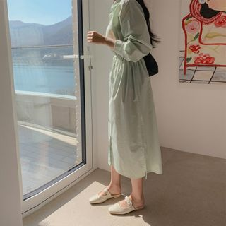 CHERRYKOKO - Drawcord-Waist Long Shirtdress