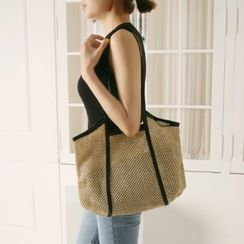 Wifky - Piped Rattan Tote & Pouch