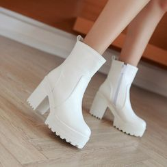 Shoes Galore - Chunky-Heel Platform Short Boots
