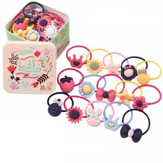 Janran - Kids Resin Hair Tie with Metal Container