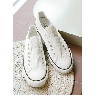 JOGUNSHOP - Letter-Patch Laceless Canvas Sneakers