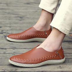 WeWolf - 真皮飾縫線樂福鞋