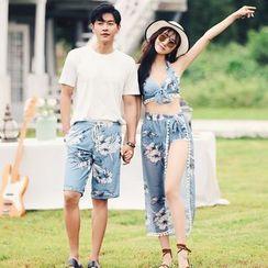 Salanghae - Couple Matching Print Swim Shorts / Set: Floral Print Bikini + Swim Skirt