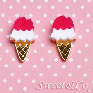 Sweet & Co. - I LOVE 雪糕金桃红耳环