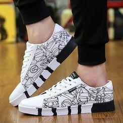 Viffara - Lettering Lace Up Sneakers