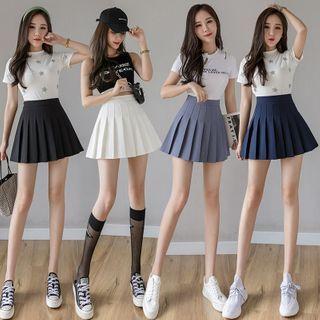 Niji Smile(ニジスマイル) - Wrinkle-Resistant Inset Shorts Plain Pleated Skirt