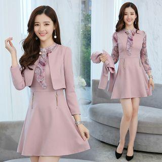 Sienne - Set: Long-Sleeve Lace Panel A-Line Mini Dress + Blazer