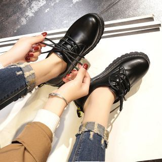 Belbie - Fleece-Lined Faux Leather Lace-Up Shoes