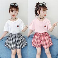 Qin Qin - Kids Set: Short-Sleeve T-Shirt + Plaid Wide-Leg Shorts
