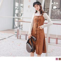 OrangeBear - 高含棉可調細肩帶高腰剪裁排釦洋裝