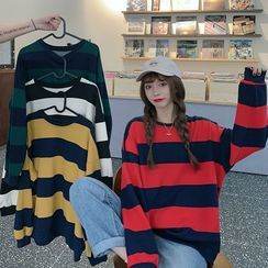 Racoon - Round Neck Striped Sweatshirt