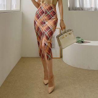 DABAGIRL - Slashed Plaid Long Pencil Skirt