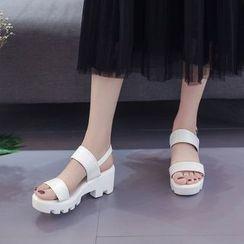 YIVIS - Slingback Chunky-Heel Platform Sandals