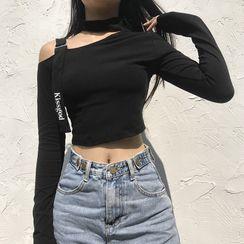 Trisica - Cutout Shoulder Long-Sleeve Crop Top