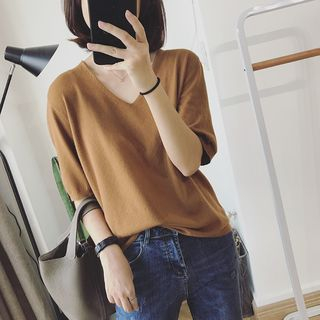 Carmenta - Elbow-Sleeve Knit Top