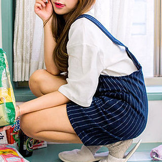 chuu - Pinstriped Jumper Dress