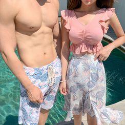 Oceanid - 情侣树叶印花沙滩裤 / 双色坦基尼泳衣 / 罩衫 / 套装